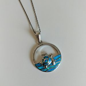 Jewelry - Sterling Opal Turtle Necklace